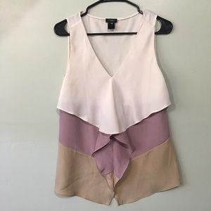 Ann Taylor Ivory Purple Tan Ruffle Sleeveless Top